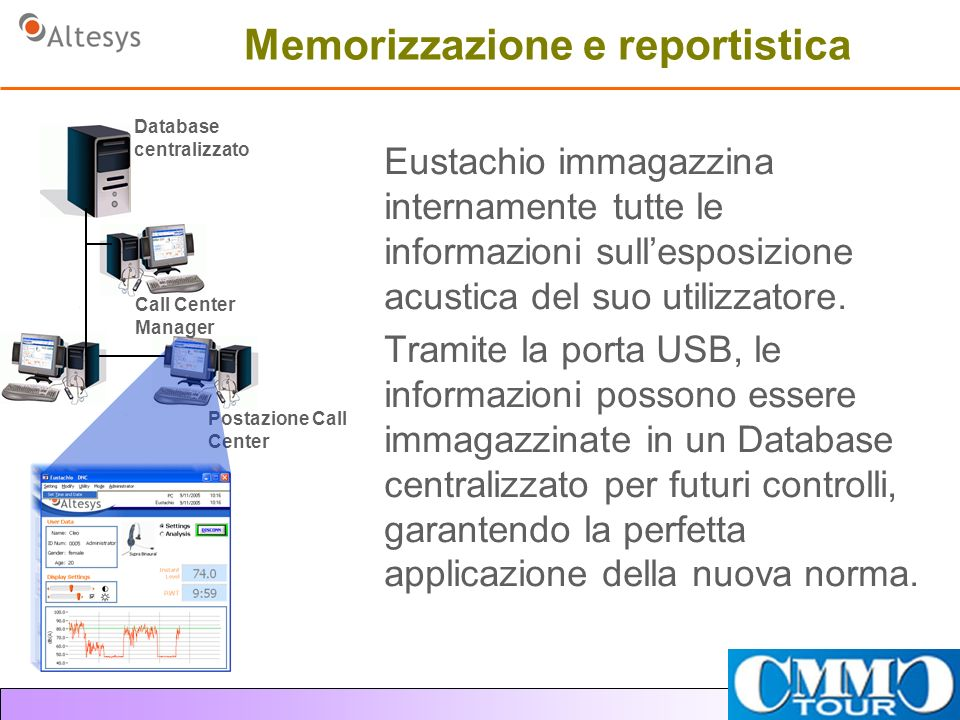 Memorizzazione e reportistica Eustachio immagazzina internamente tutte le informazioni sullesposizione acustica del suo utilizzatore.