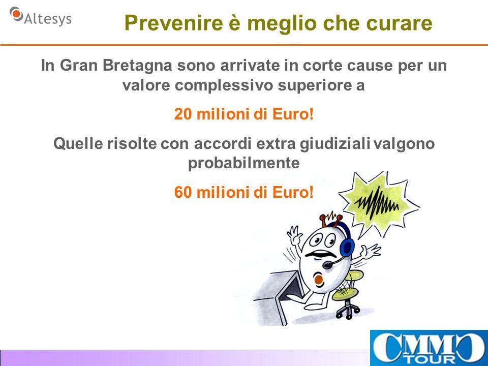 Prevenire è meglio che curare In Gran Bretagna sono arrivate in corte cause per un valore complessivo superiore a 20 milioni di Euro.