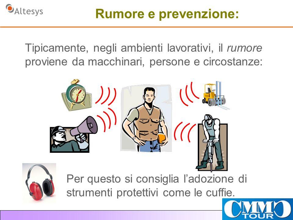 Rumore e prevenzione: Tipicamente, negli ambienti lavorativi, il rumore proviene da macchinari, persone e circostanze: Per questo si consiglia ladozione di strumenti protettivi come le cuffie.