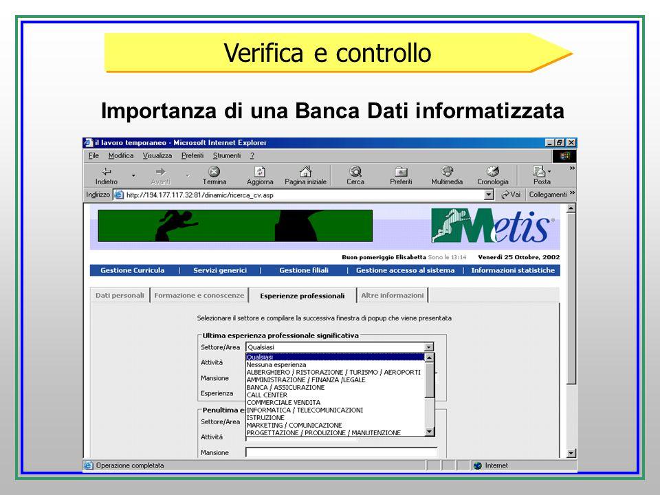 Importanza di una Banca Dati informatizzata Verifica e controllo