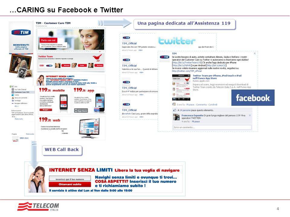 4 …CARING su Facebook e Twitter WEB Call Back Una pagina dedicata allAssistenza 119