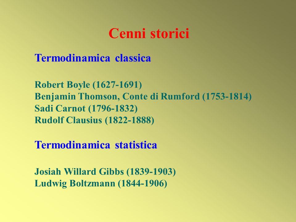 Cenni storici Termodinamica classica Robert Boyle (1627-1691) Benjamin Thomson, Conte di Rumford (1753-1814) Sadi Carnot (1796-1832) Rudolf Clausius (1822-1888) Termodinamica statistica Josiah Willard Gibbs (1839-1903) Ludwig Boltzmann (1844-1906)