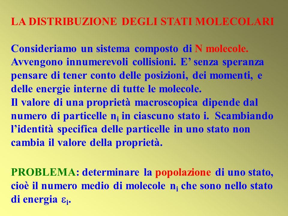 LA DISTRIBUZIONE DEGLI STATI MOLECOLARI Consideriamo un sistema composto di N molecole.