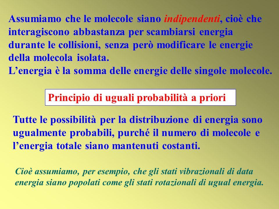 Principio di uguali probabilità a priori Tutte le possibilità per la distribuzione di energia sono ugualmente probabili, purché il numero di molecole e lenergia totale siano mantenuti costanti.
