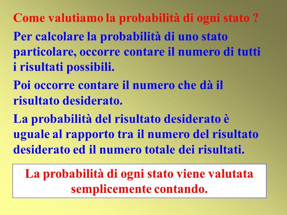 Come valutiamo la probabilità di ogni stato ? Per calcolare la probabilità di uno stato particolare, occorre contare il numero di tutti i risultati po