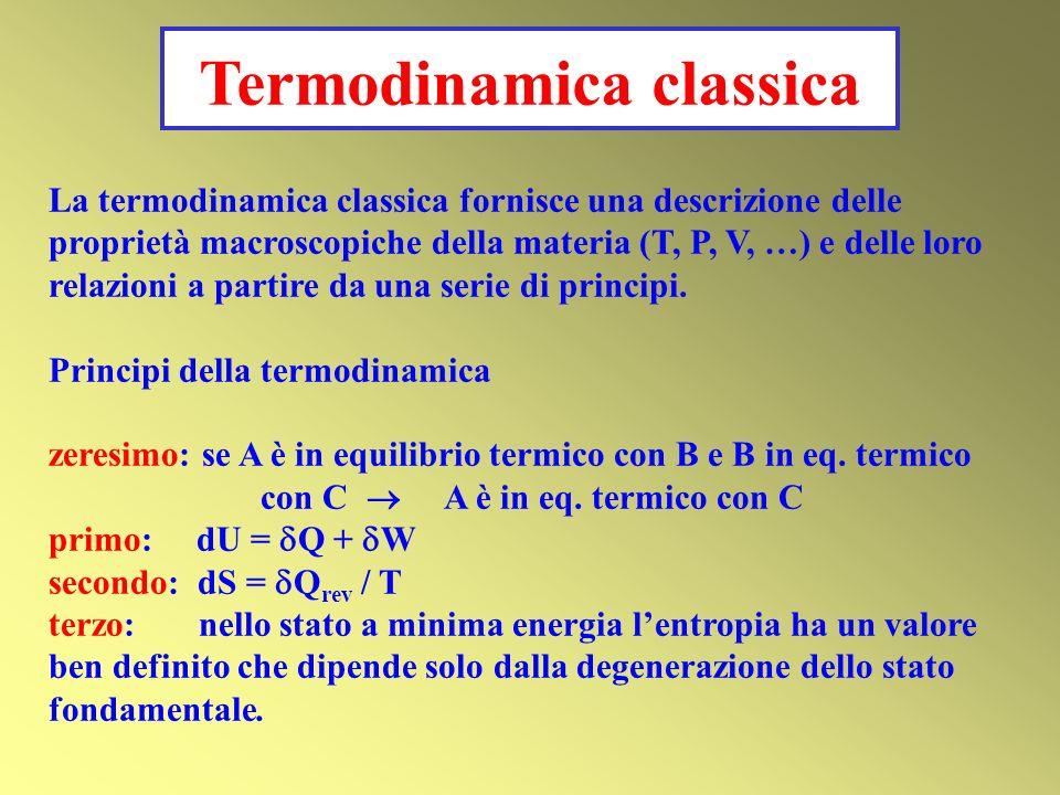 La termodinamica classica fornisce una descrizione delle proprietà macroscopiche della materia (T, P, V, …) e delle loro relazioni a partire da una serie di principi.