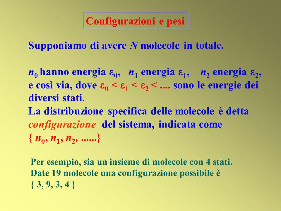 Supponiamo di avere N molecole in totale. n 0 hanno energia 0, n 1 energia 1, n 2 energia 2, e così via, dove 0 < 1 < 2 <.... sono le energie dei dive
