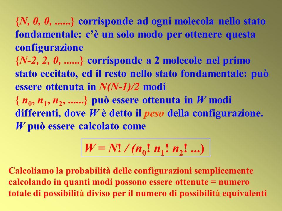{N, 0, 0,......} corrisponde ad ogni molecola nello stato fondamentale: cè un solo modo per ottenere questa configurazione {N-2, 2, 0,......} corrisponde a 2 molecole nel primo stato eccitato, ed il resto nello stato fondamentale: può essere ottenuta in N(N-1)/2 modi { n 0, n 1, n 2,......} può essere ottenuta in W modi differenti, dove W è detto il peso della configurazione.