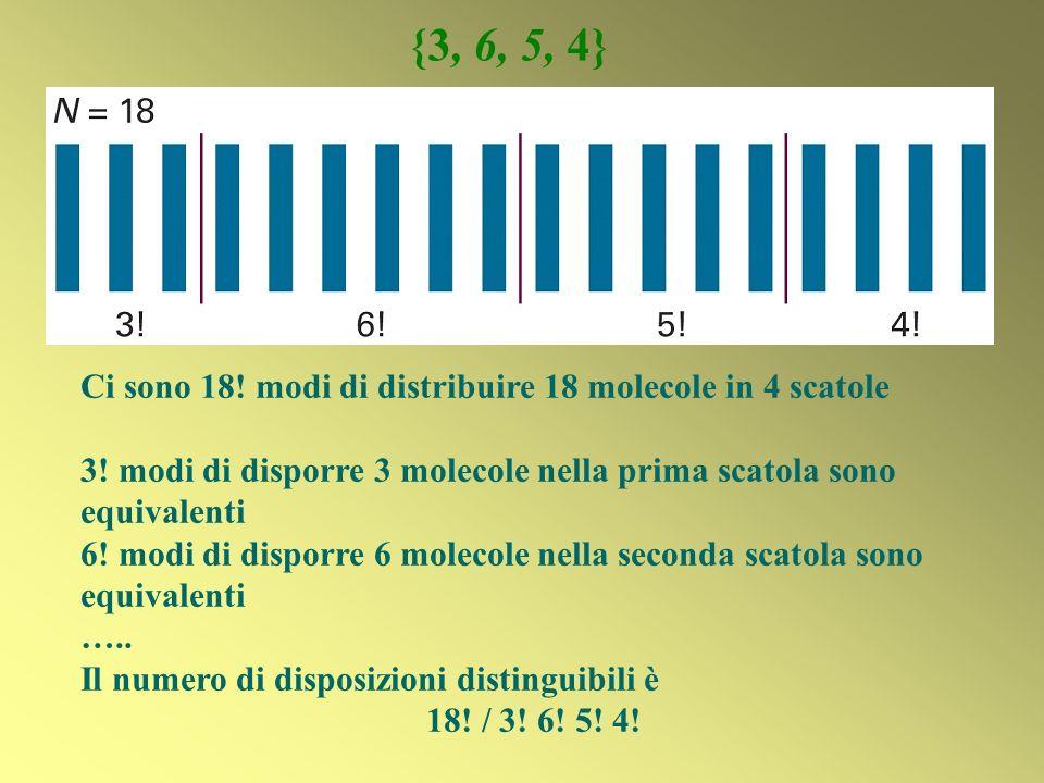 Ci sono 18! modi di distribuire 18 molecole in 4 scatole 3! modi di disporre 3 molecole nella prima scatola sono equivalenti 6! modi di disporre 6 mol