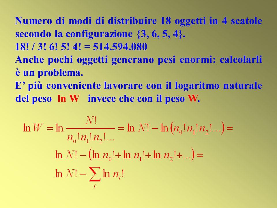 Numero di modi di distribuire 18 oggetti in 4 scatole secondo la configurazione {3, 6, 5, 4}. 18! / 3! 6! 5! 4! = 514.594.080 Anche pochi oggetti gene