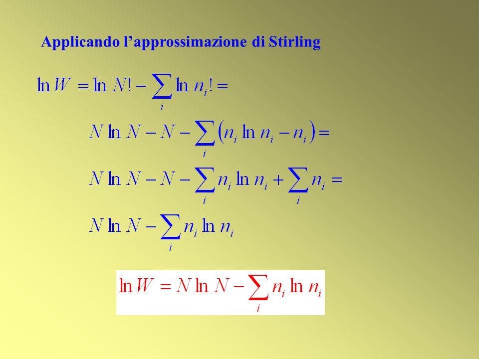 Applicando lapprossimazione di Stirling