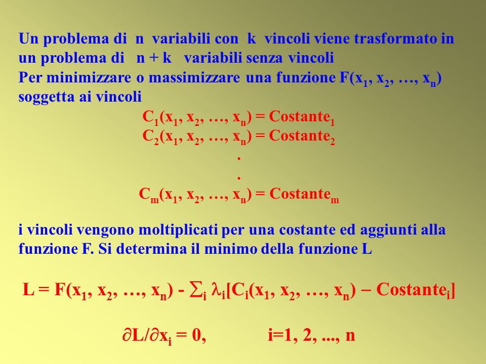 Un problema di n variabili con k vincoli viene trasformato in un problema di n + k variabili senza vincoli Per minimizzare o massimizzare una funzione F(x 1, x 2, …, x n ) soggetta ai vincoli C 1 (x 1, x 2, …, x n ) = Costante 1 C 2 (x 1, x 2, …, x n ) = Costante 2.