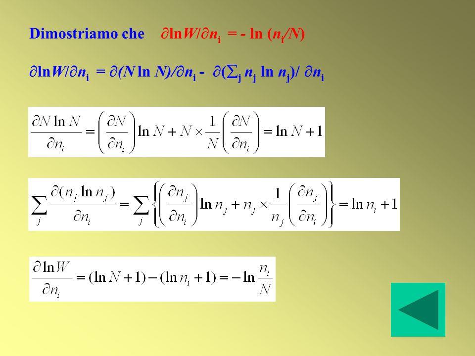 Dimostriamo che lnW/ n i = - ln (n i /N) lnW/ n i = (N ln N)/ n i - ( j n j ln n j )/ n i