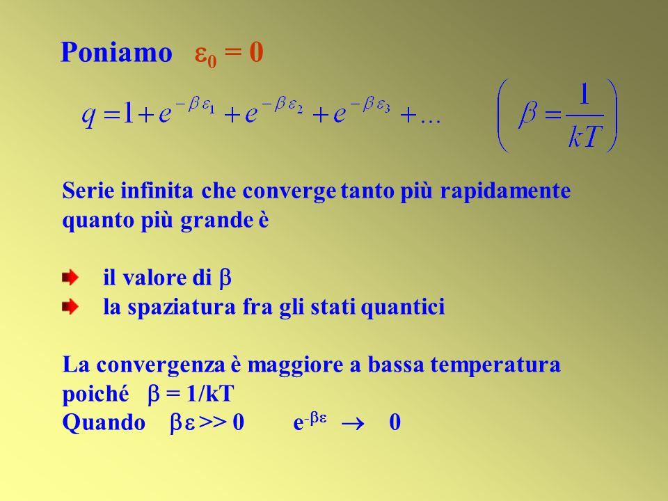 Serie infinita che converge tanto più rapidamente quanto più grande è il valore di la spaziatura fra gli stati quantici La convergenza è maggiore a bassa temperatura poiché = 1/kT Quando >> 0 e - 0 Poniamo 0 = 0