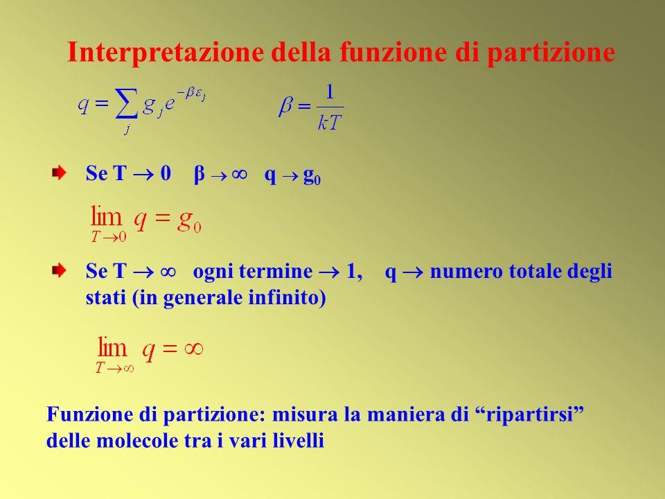 Interpretazione della funzione di partizione Se T 0 β q g 0 Se T ogni termine 1, q numero totale degli stati (in generale infinito) Funzione di partizione: misura la maniera di ripartirsi delle molecole tra i vari livelli