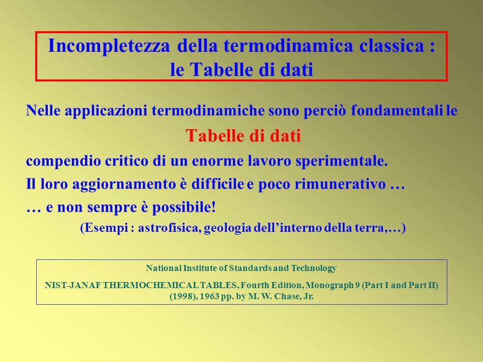 Incompletezza della termodinamica classica : le Tabelle di dati Nelle applicazioni termodinamiche sono perciò fondamentali le Tabelle di dati compendi