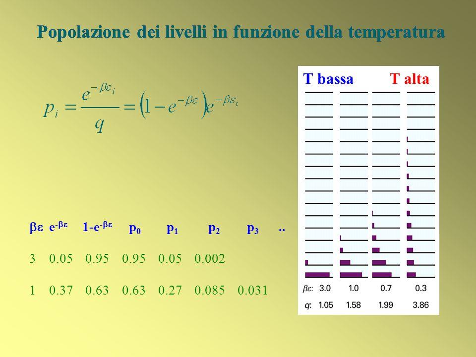 Popolazione dei livelli in funzione della temperatura T bassa T alta Popolazione dei livelli in funzione della temperatura e - 1-e - p 0 p 1 p 2 p 3..