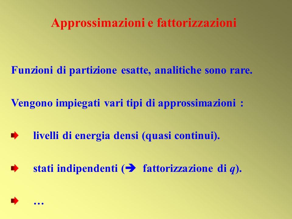 Approssimazioni e fattorizzazioni Funzioni di partizione esatte, analitiche sono rare. Vengono impiegati vari tipi di approssimazioni : livelli di ene