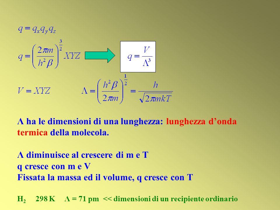 Λ ha le dimensioni di una lunghezza: lunghezza donda termica della molecola. Λ diminuisce al crescere di m e T q cresce con m e V Fissata la massa ed