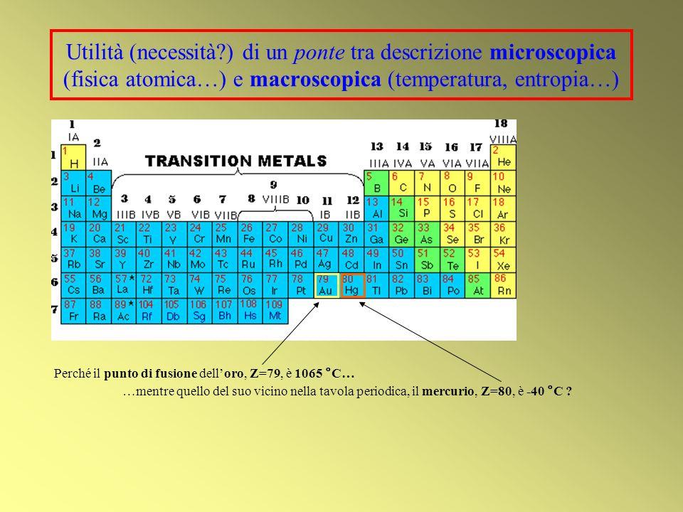 Utilità (necessità?) di un ponte tra descrizione microscopica (fisica atomica…) e macroscopica (temperatura, entropia…) Perché il punto di fusione delloro, Z=79, è 1065 °C… …mentre quello del suo vicino nella tavola periodica, il mercurio, Z=80, è -40 °C ?