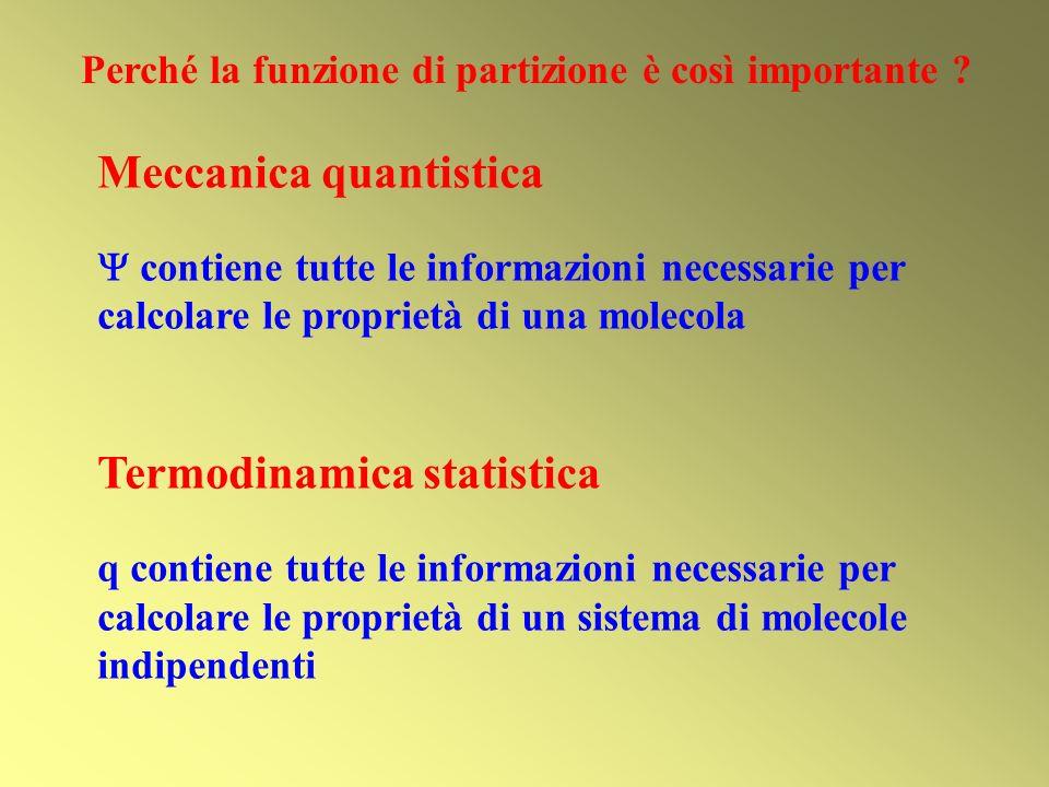 Meccanica quantistica contiene tutte le informazioni necessarie per calcolare le proprietà di una molecola Termodinamica statistica q contiene tutte l