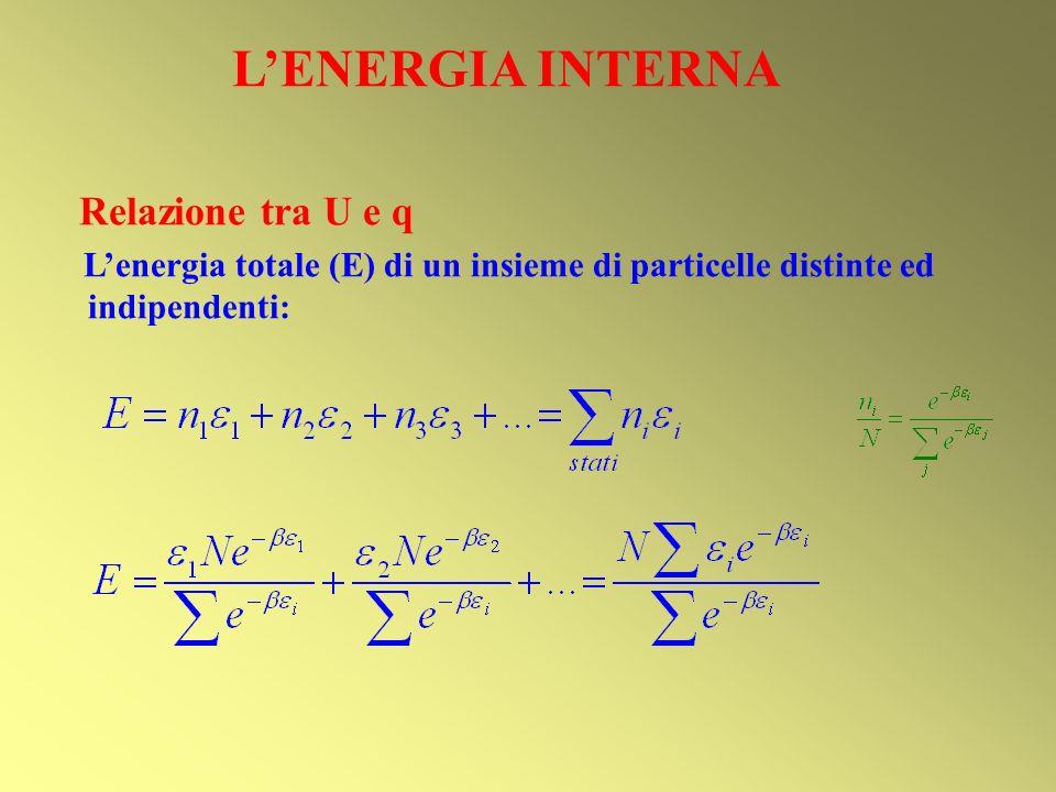 LENERGIA INTERNA Relazione tra U e q Lenergia totale (E) di un insieme di particelle distinte ed indipendenti: