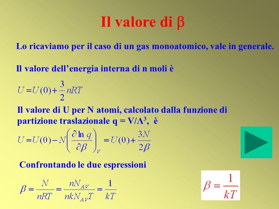Il valore di Lo ricaviamo per il caso di un gas monoatomico, vale in generale. Il valore dellenergia interna di n moli è Il valore di U per N atomi, c