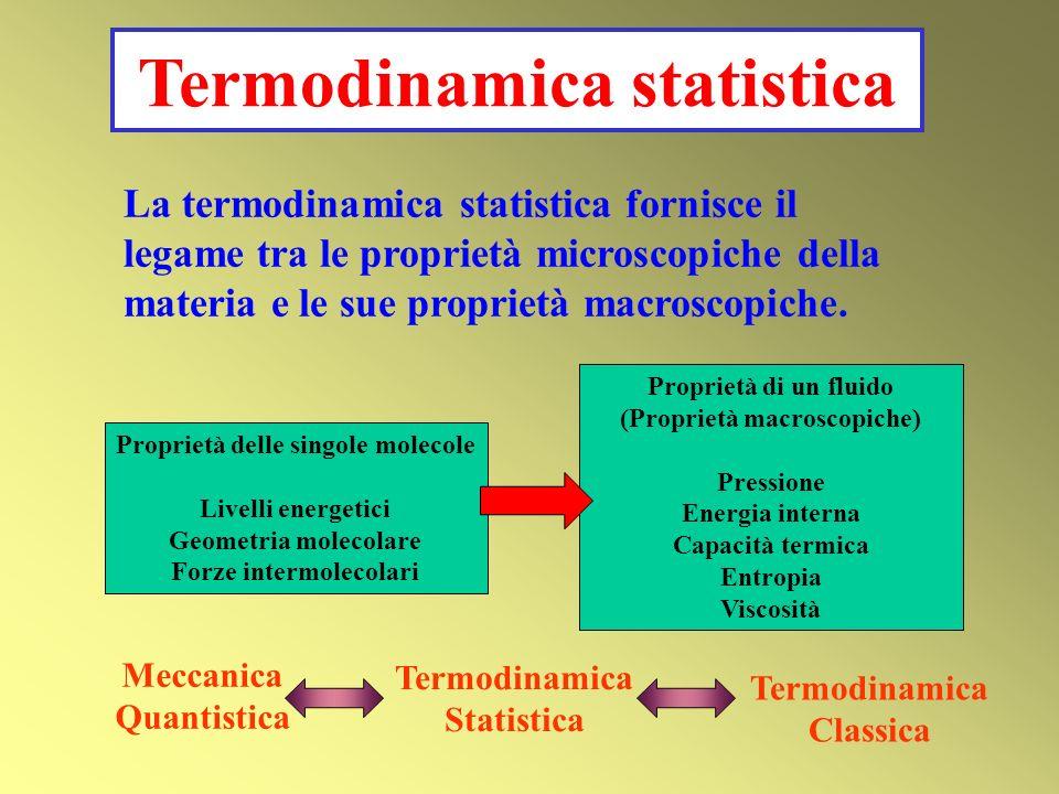 La termodinamica statistica fornisce il legame tra le proprietà microscopiche della materia e le sue proprietà macroscopiche. Proprietà delle singole