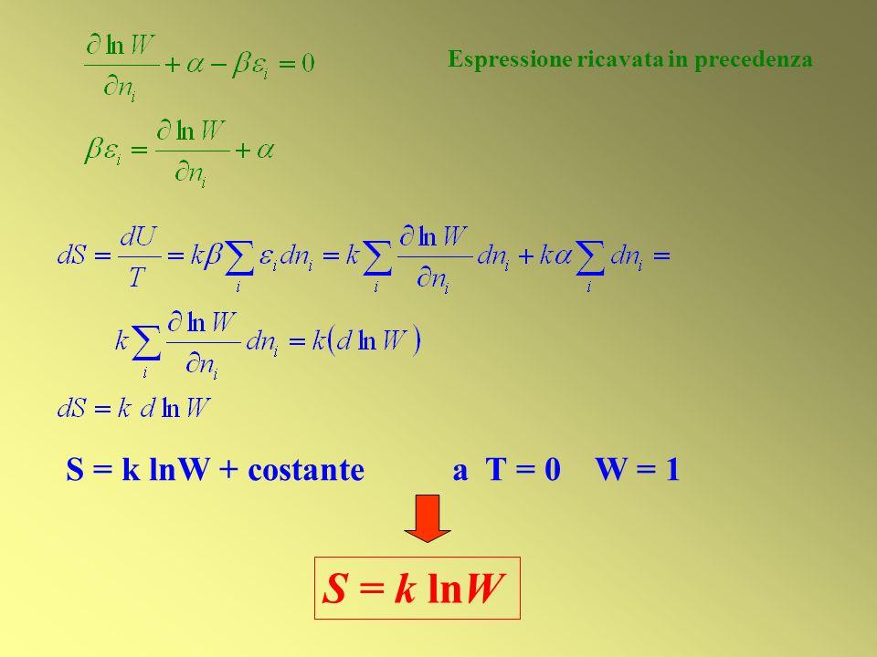S = k lnW Espressione ricavata in precedenza S = k lnW + costante a T = 0 W = 1