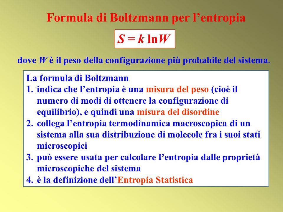 Formula di Boltzmann per lentropia S = k lnW dove W è il peso della configurazione più probabile del sistema.