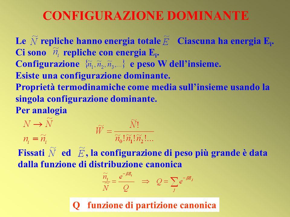 CONFIGURAZIONE DOMINANTE Le repliche hanno energia totale Ciascuna ha energia E i. Ci sono repliche con energia E i. Configurazione e peso W dellinsie