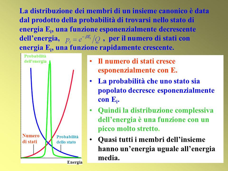 La distribuzione dei membri di un insieme canonico è data dal prodotto della probabilità di trovarsi nello stato di energia E i, una funzione esponenz