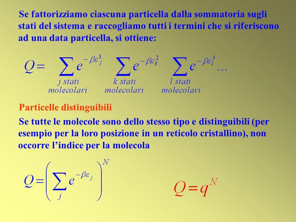 Particelle distinguibili Se tutte le molecole sono dello stesso tipo e distinguibili (per esempio per la loro posizione in un reticolo cristallino), n