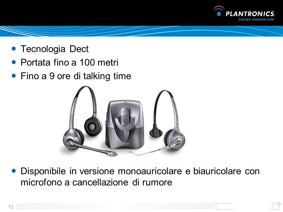 13 Tecnologia Dect Portata fino a 100 metri Fino a 9 ore di talking time Disponibile in versione monoauricolare e biauricolare con microfono a cancell