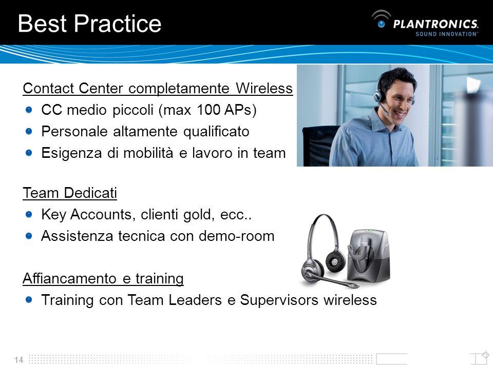 14 Best Practice Contact Center completamente Wireless CC medio piccoli (max 100 APs) Personale altamente qualificato Esigenza di mobilità e lavoro in