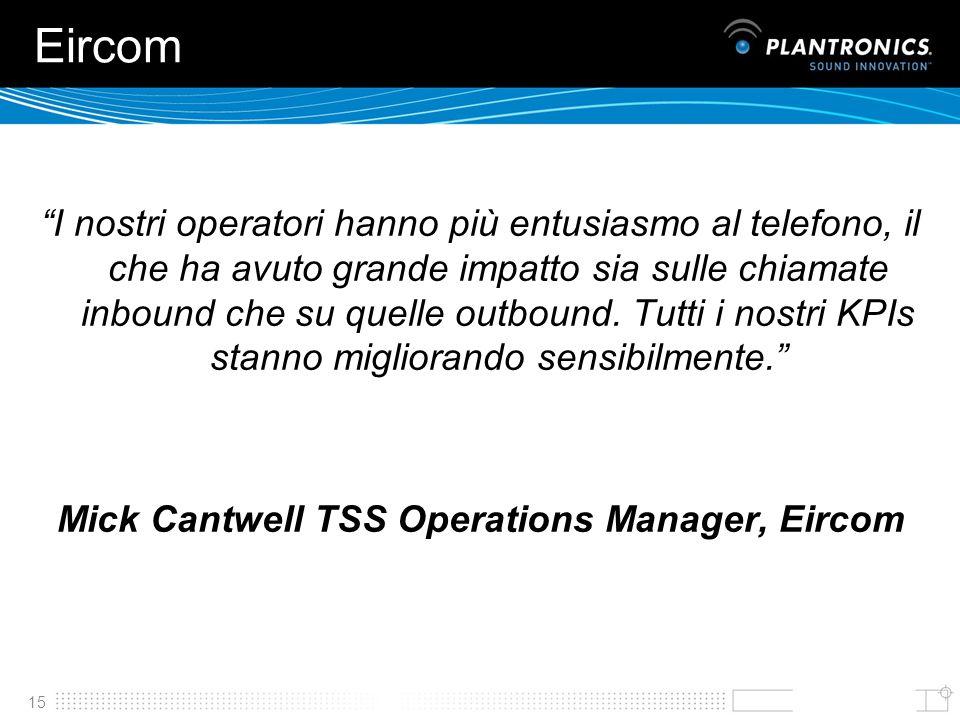 15 Eircom I nostri operatori hanno più entusiasmo al telefono, il che ha avuto grande impatto sia sulle chiamate inbound che su quelle outbound. Tutti