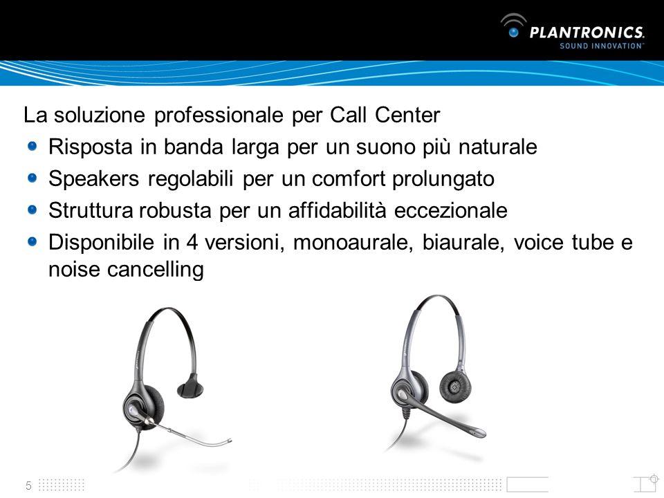 5 La soluzione professionale per Call Center Risposta in banda larga per un suono più naturale Speakers regolabili per un comfort prolungato Struttura