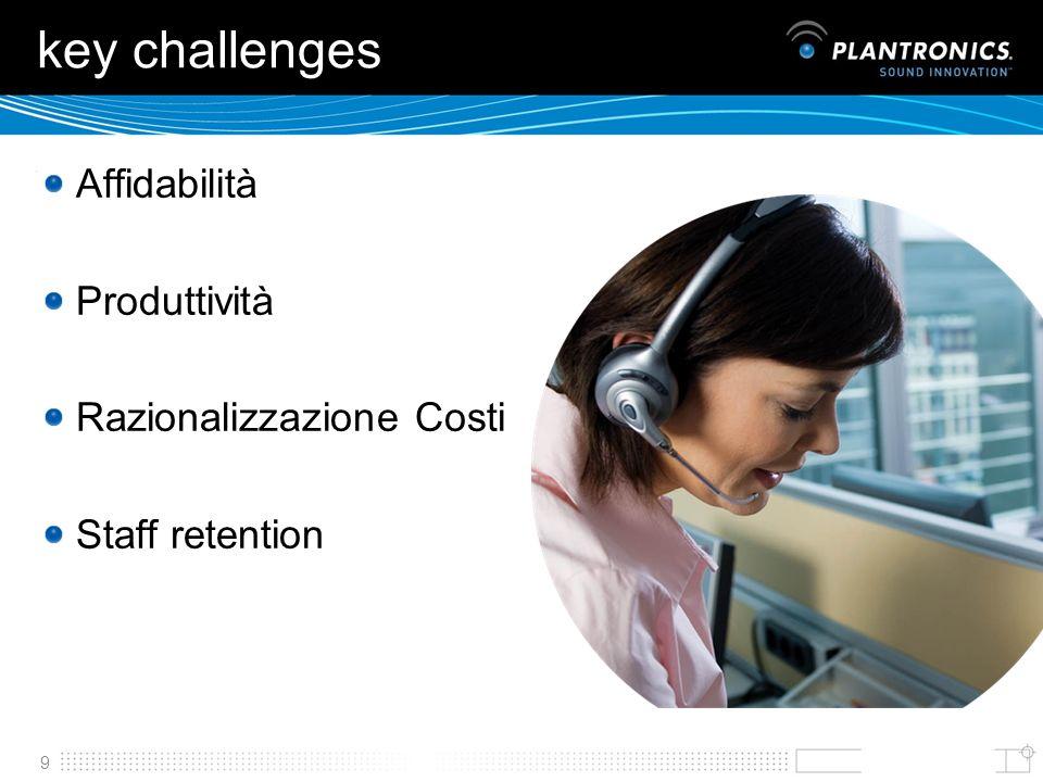 9 key challenges Affidabilità Produttività Razionalizzazione Costi Staff retention