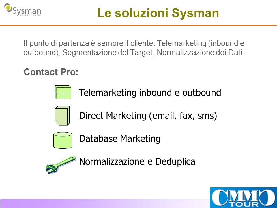 Le soluzioni Sysman Il punto di partenza è sempre il cliente: Telemarketing (inbound e outbound), Segmentazione del Target, Normalizzazione dei Dati.
