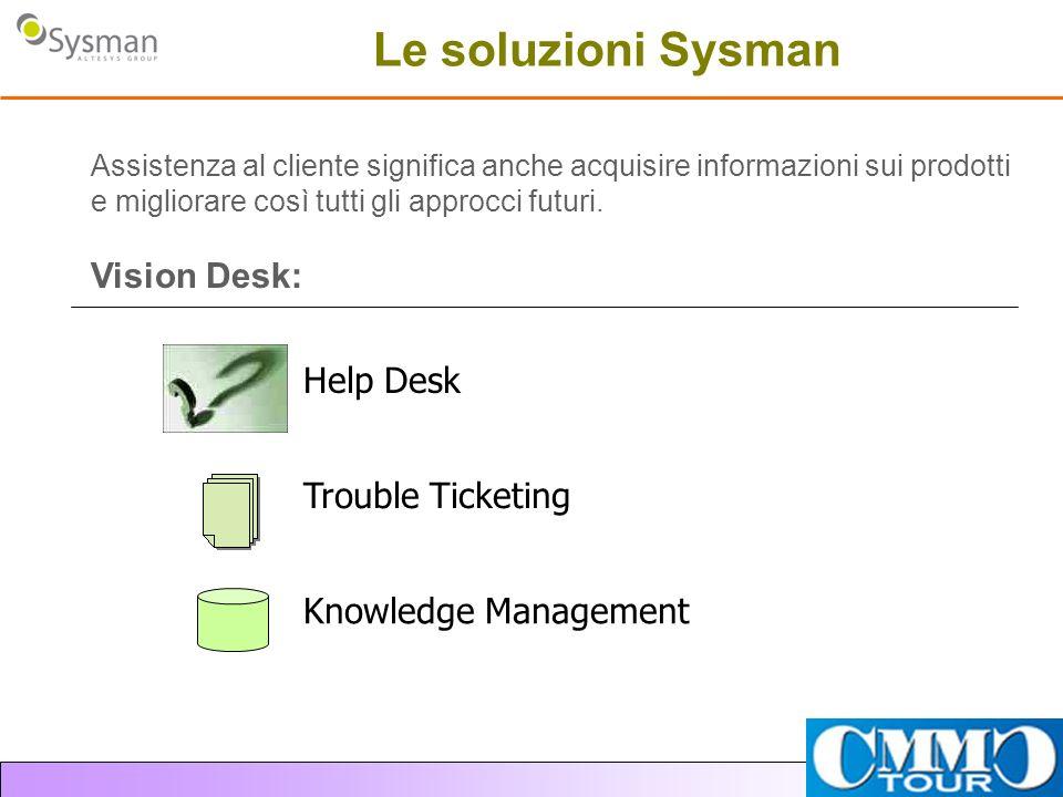 Le soluzioni Sysman Assistenza al cliente significa anche acquisire informazioni sui prodotti e migliorare così tutti gli approcci futuri. Vision Desk