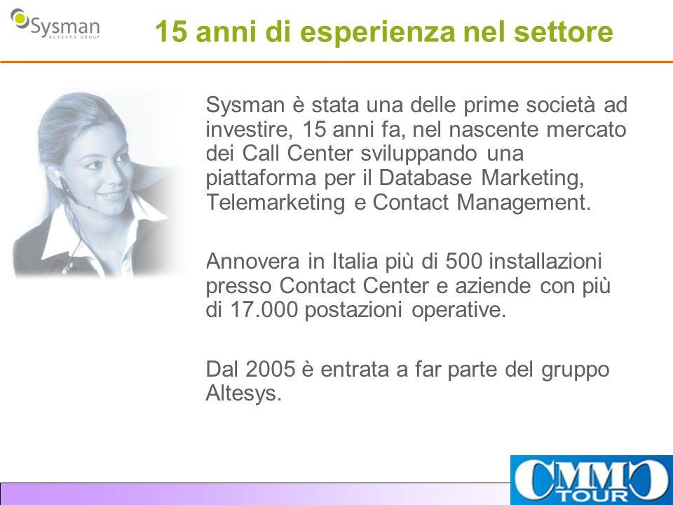 15 anni di esperienza nel settore Sysman è stata una delle prime società ad investire, 15 anni fa, nel nascente mercato dei Call Center sviluppando un