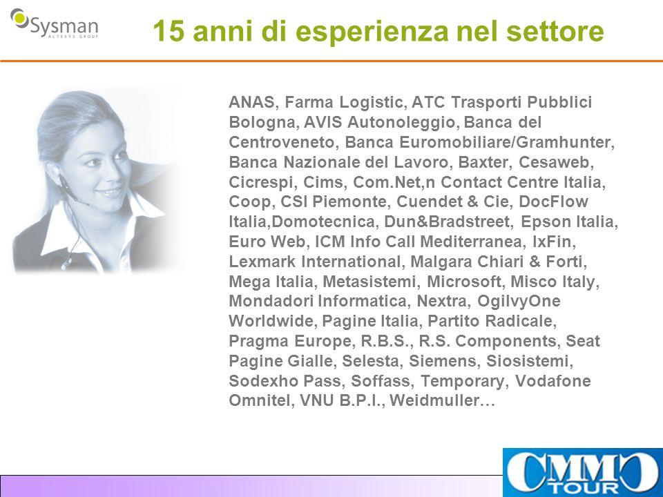 15 anni di esperienza nel settore ANAS, Farma Logistic, ATC Trasporti Pubblici Bologna, AVIS Autonoleggio, Banca del Centroveneto, Banca Euromobiliare