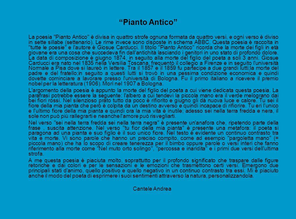 Pianto Antico La poesia Pianto Antico è divisa in quattro strofe ognuna formata da quattro versi, e ogni verso è diviso in sette sillabe (settenario).