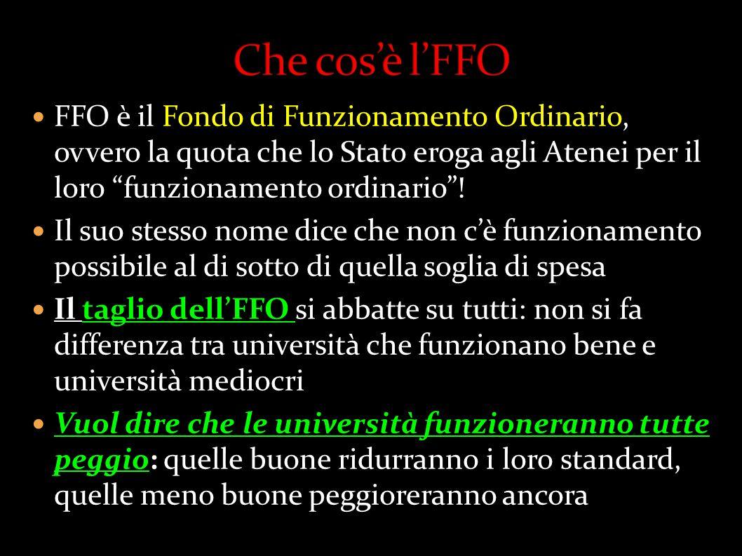 FFO è il Fondo di Funzionamento Ordinario, ovvero la quota che lo Stato eroga agli Atenei per il loro funzionamento ordinario! Il suo stesso nome dice