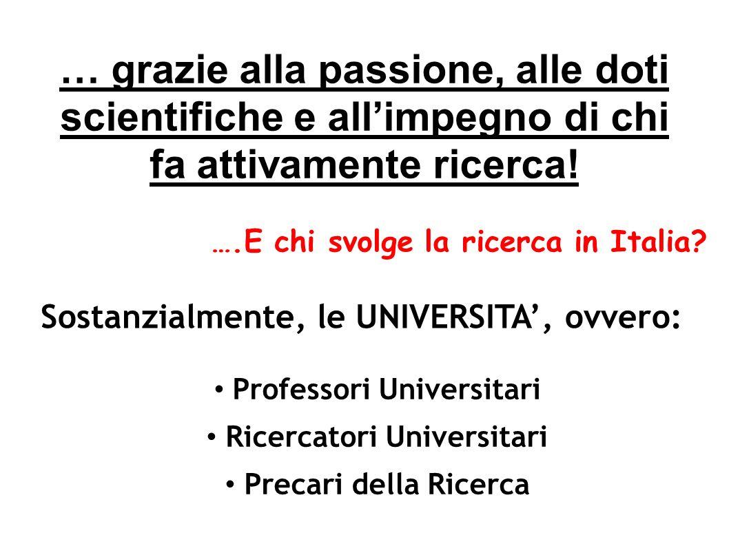 … grazie alla passione, alle doti scientifiche e allimpegno di chi fa attivamente ricerca! Professori Universitari Ricercatori Universitari Precari de