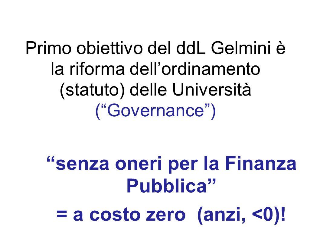 Primo obiettivo del ddL Gelmini è la riforma dellordinamento (statuto) delle Università (Governance) senza oneri per la Finanza Pubblica = a costo zer