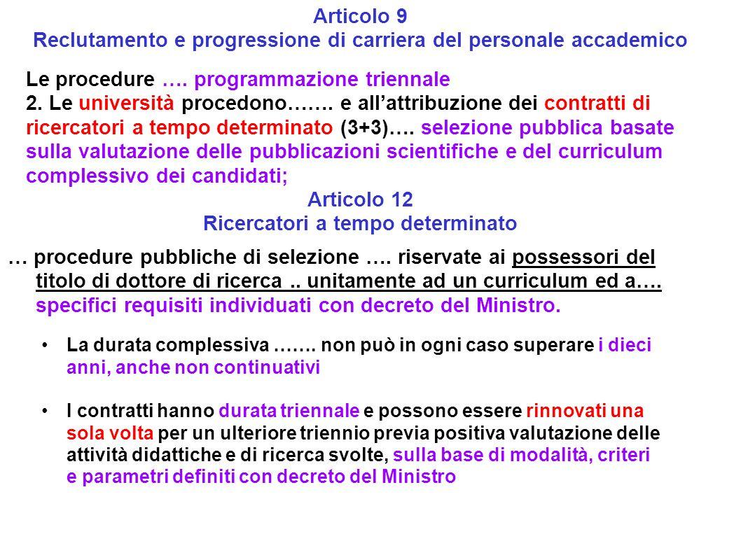 Articolo 9 Reclutamento e progressione di carriera del personale accademico Le procedure …. programmazione triennale 2. Le università procedono……. e a
