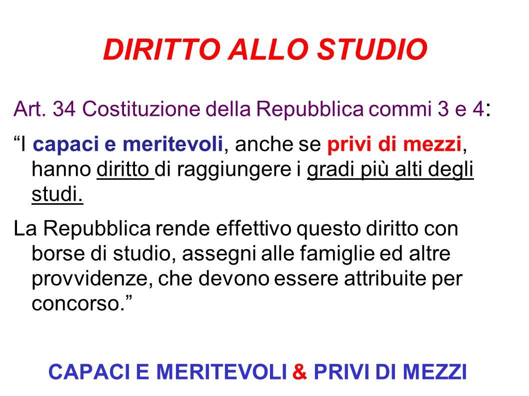 DIRITTO ALLO STUDIO Art. 34 Costituzione della Repubblica commi 3 e 4 : I capaci e meritevoli, anche se privi di mezzi, hanno diritto di raggiungere i