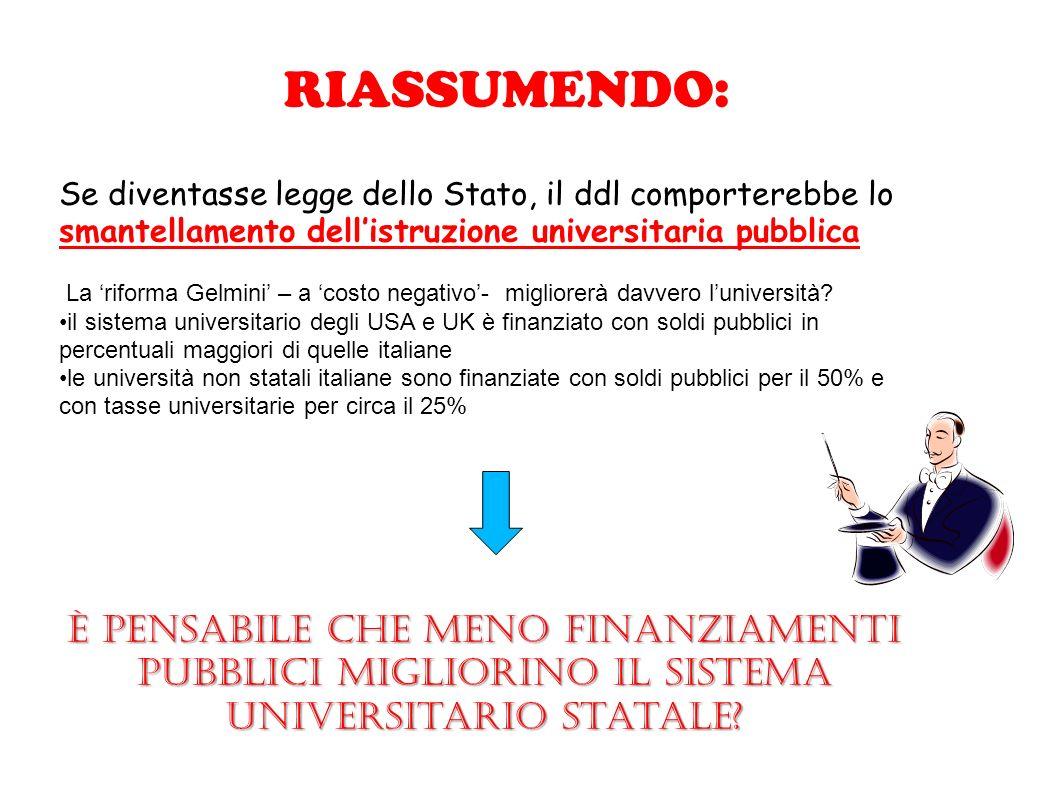 RIASSUMENDO: Se diventasse legge dello Stato, il ddl comporterebbe lo smantellamento dellistruzione universitaria pubblica La riforma Gelmini – a cost
