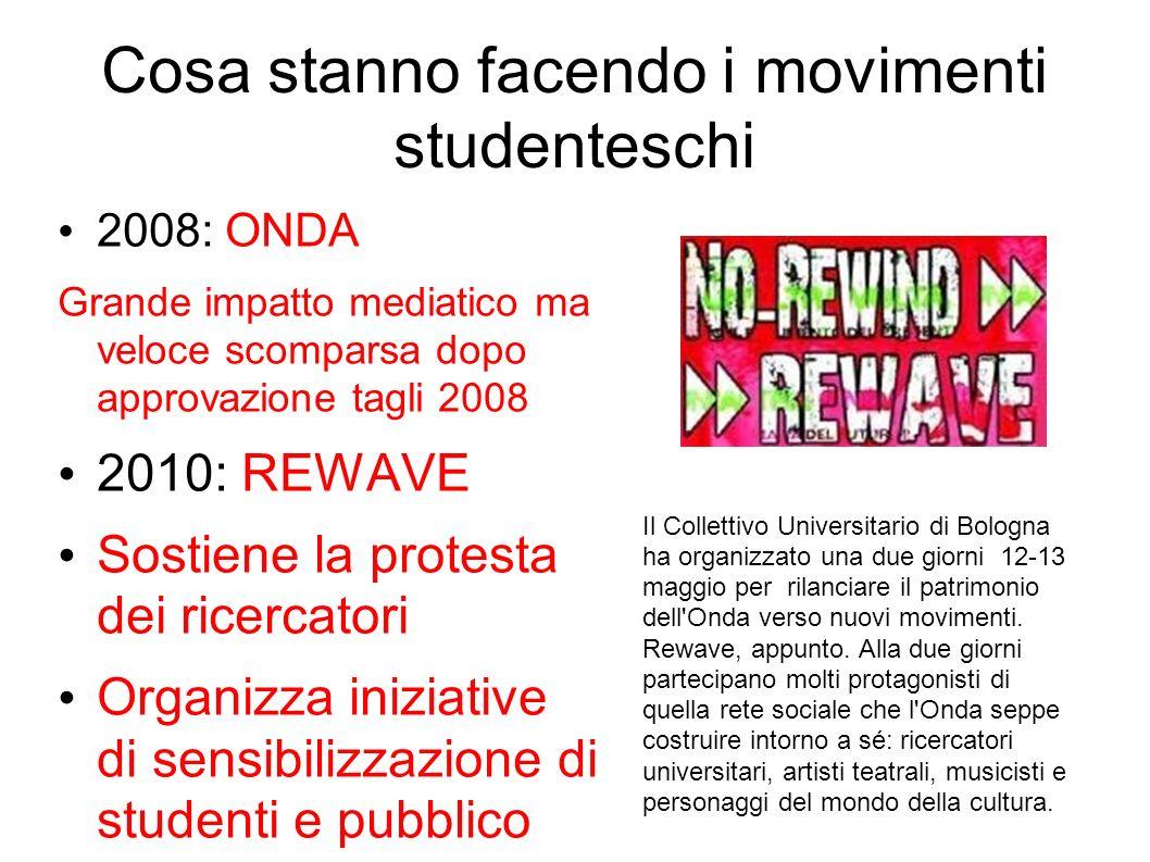 Cosa stanno facendo i movimenti studenteschi 2008: ONDA Grande impatto mediatico ma veloce scomparsa dopo approvazione tagli 2008 2010: REWAVE Sostien